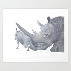 Rhinoceros Mama and Baby Art Print