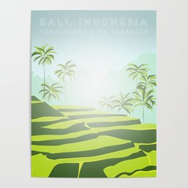 Tegalalang Rice Terraces, Bali, Indonesia Travel Poster Poster