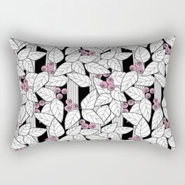 Pink berries on black and white striped background . Rectangular Pillow
