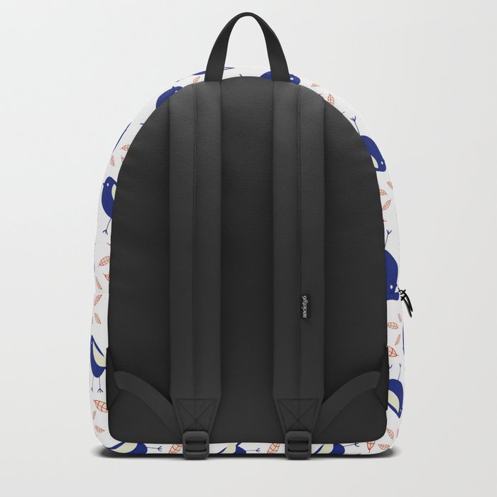 blue bird with fall leaves Backpack