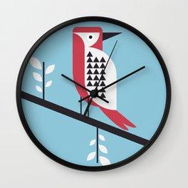 woodpecker in blue Wall Clock