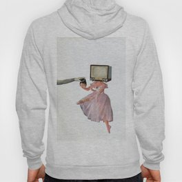 woman exchanging her head with a TV Hoody