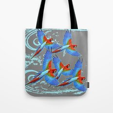 SWIRLING BLUE-GREY FLYING MACAWS ART Tote Bag