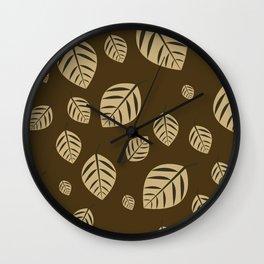 brown leafs Wall Clock
