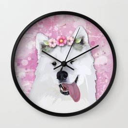 Pretty Samoyed Dog Wall Clock