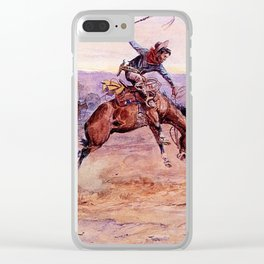 """""""Bucking Bronco"""" by Charles M Russell Clear iPhone Case"""