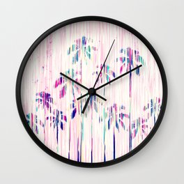 Girly Pink Teal Watercolor Dripping Palm Trees Wall Clock