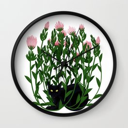 Cat and king protea Wall Clock