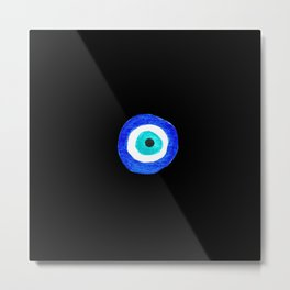 Single Evil Eye Amulet Talisman Ojo Nazar - on black Metal Print