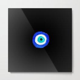 Single Evil Eye Amulet Talisman Ojo Nazar - on black Metal Print