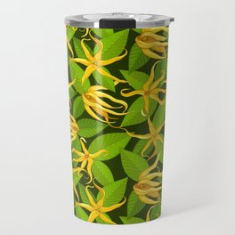 Ylang Ylang Exotic Scented Flowers and Leaves Pattern Travel Mug