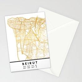 BEIRUT LEBANON CITY STREET MAP ART Stationery Cards