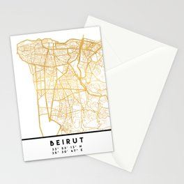 BEIRUT LEBANON CITY STREET MAP ART Stationery Cards
