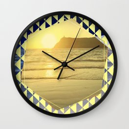 Port Erin - yellow hexagon Wall Clock