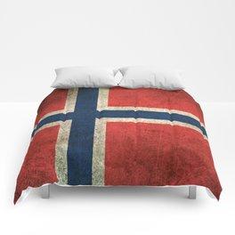 Old and Worn Distressed Vintage Flag of Norway Comforters