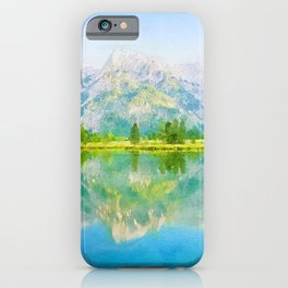 Lake reflections watercolor painting #5 iPhone Case