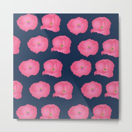 Imagine Poppies - Pink on Blue Metal Print