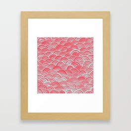 Watercolor Waves - Guava Mint Framed Art Print