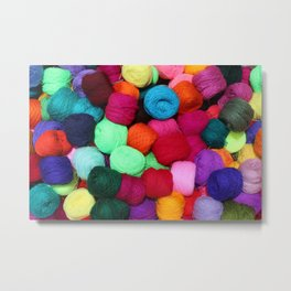 Colorful Skeins of Wool Metal Print