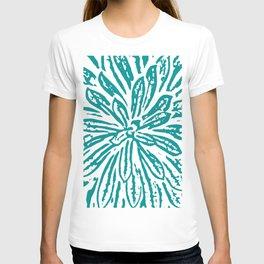Blue Linocut Flower Textile T-shirt