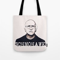 larry david Tote Bags featuring Schmohawk  |  Larry David   by Silvio Ledbetter