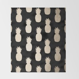 Gold Pineapples Pattern Black Throw Blanket