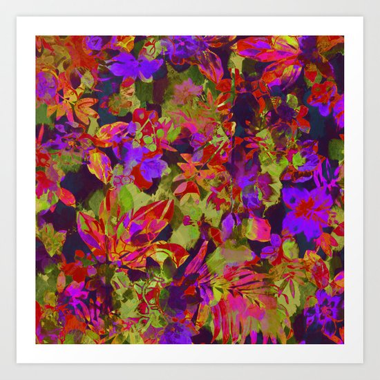 colorful floral with purple accent Art Print
