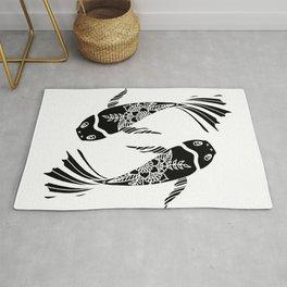 Koi Fish Black and White Palette Rug