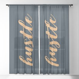 Hustle Text Copper Bronze Gold and Navy Sheer Curtain