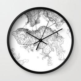 Hong Kong White Map Wall Clock