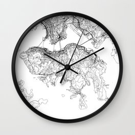Hong Kong White Map Wall Clock