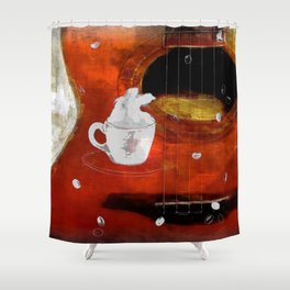 cup of coffee on acousic guitar - color Shower Curtain