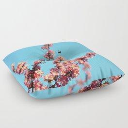 Pink flowers With Bee Floor Pillow