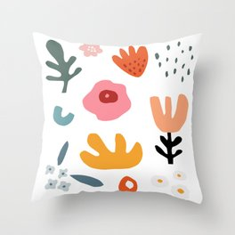 abstract botanical shapes Throw Pillow