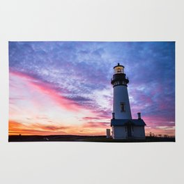 New Years Eve 2017 Sunset at Yaquina Head Lighthouse Rug