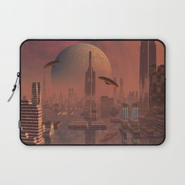 Futuristic City with Space Ships Laptop Sleeve