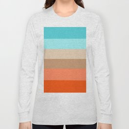 Modern orange aqua sand color block stripes Long Sleeve T-shirt