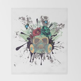 Green Gas Mask with Roses Throw Blanket