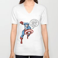 steve rogers V-neck T-shirts featuring Steve Rogers - The Straight Man by tangofox