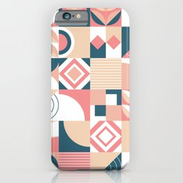 Lovely Geometric Shapes Abstract art in pastel and blue pattern iPhone Case