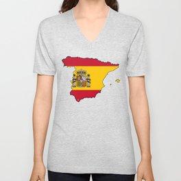Spain Map with Spanish Flag Unisex V-Neck