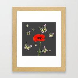 RED POPPY FLOWER & GREY BUTTERFLIES Framed Art Print