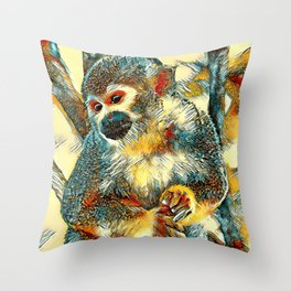 AnimalArt_Monkey_20170601_by_JAMColorsSpecial Throw Pillow