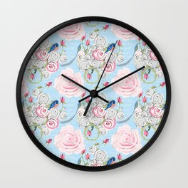 Bluebirds and Watercolor roses on pale blue with white French script Wall Clock