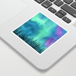 """Wilderness Lights"" Aurora Borealis watercolor landscape painting Sticker"