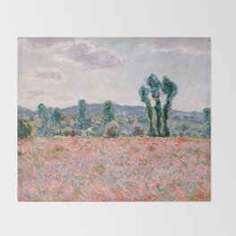 Poppy Field in Giverny by Claude Monet Throw Blanket
