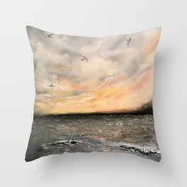 Birds on the ocean Throw Pillow