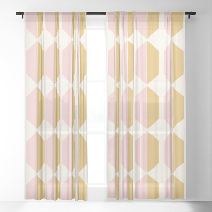 Zola Hexagon Pattern - Sunrise Sheer Curtain