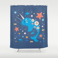 narwhal Shower Curtains featuring Narwhal & Babies  by Carly Watts