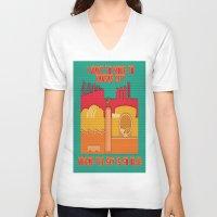 kansas city V-neck T-shirts featuring Paper Kansas City by BEARableDesigns